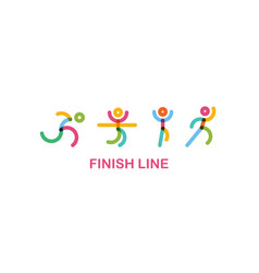 colorful runners at finish line runing motion vector image