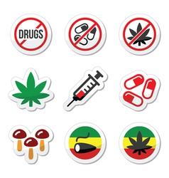 Drugs addiction marijuana syringe colorful labe vector image vector image
