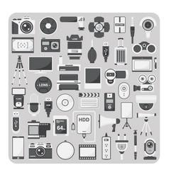 flat icons camera set vector image vector image