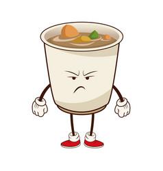kawaii soup ramen angry japanese food image vector image