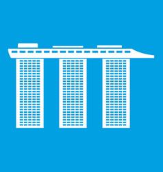 marina bay sands hotel singapore icon white vector image vector image