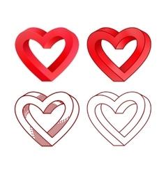 Retro Valentine day line heart icon set vector image