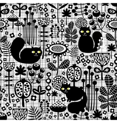 Seamless background with cute black cats vector image vector image
