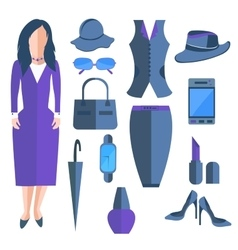 Set isolated business ladies clothes and vector image