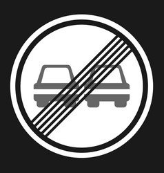 the end of prohibition overtaking sign flat icon vector image