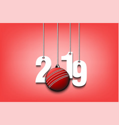 2019 new year and cricket ball hanging on strings vector