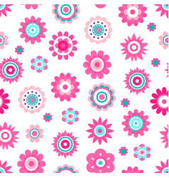 Abstract flowers made of geometric figures and dot vector