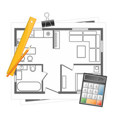 apartment project with a tool vector image