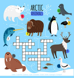 Arctic animals crossword puzzle vector