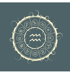 Astrology symbols in circle Water bearer sign vector image