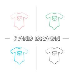 Babodysuit hand drawn icons set vector