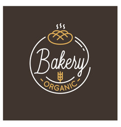 Bakery shop logo round linear logo bread dark vector