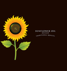 Banner for refined sunflower oil with inscription vector