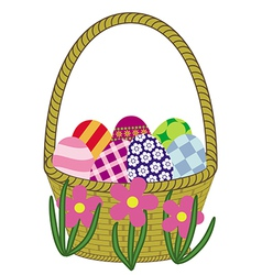 Basket with easter eggs preview vector