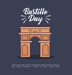 Bastille day celebration card with triumph arch vector