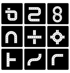 black road elements icon set vector image
