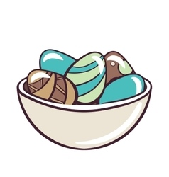 Bowl with colored eggs vector
