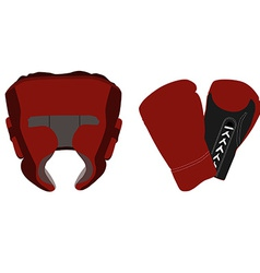 Boxing helmet and gloves vector image