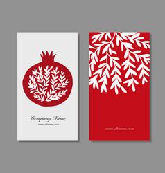business cards design pomegranate background vector image