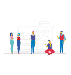 business discussion - flat design style colorful vector image