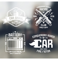 Car repair and racing emblems vector image
