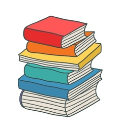 Cartoon hand drawn stack of books vector