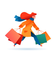 cartoon woman in coat with shopping bags vector image