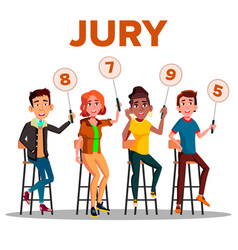Characters jury with sign boards show score vector