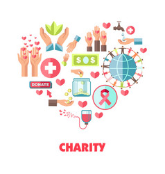 Charity themed icons set in big heart shape vector