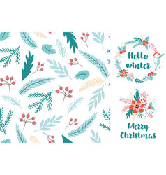 christmas fir seamless pattern greeting card with vector image