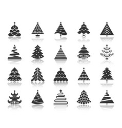 christmas tree black silhouette icons set vector image