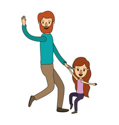 Color image caricature bearded father with girl vector