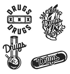 color vintage drugs emblems vector image