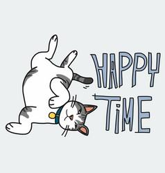 cute cat happy time cartoon vector image