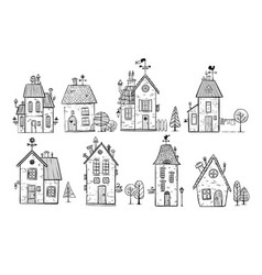 Cute doodle houses on white background vector