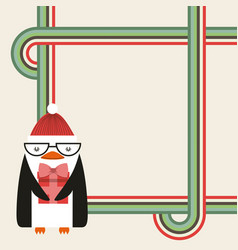 Cute penguin christmas character vector