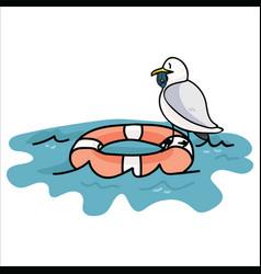 Cute seagull fishing cartoon vector