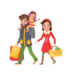 dad and mom with bags or packs holiday xmas gifts vector image