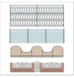 Different designs of fences and gates isolated vector
