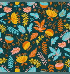 dino background floral grunge seamless pattern vec vector image