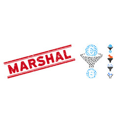 Distress marshal line stamp with collage euro vector