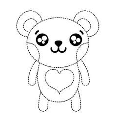 Dotted shape happy bear cute wild animal vector