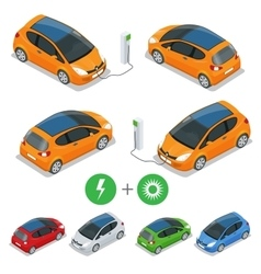 Electric car with Solar Panels Eco car vector image