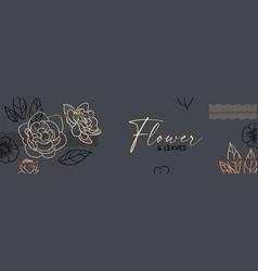 elegant hand drawn gold flower art design trendy vector image