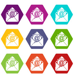 email icons set 9 vector image