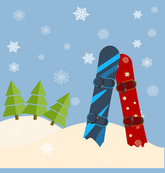Fir trees snowboards hills winter bright day vector