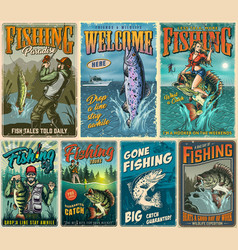Fishing vintage posters composition vector