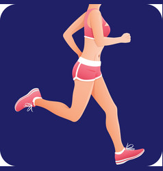 Fitness girl sportswoman female runner running vector