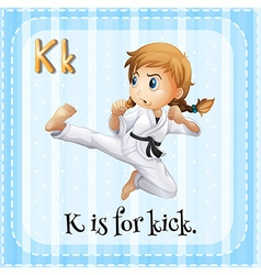 Flashcard of K is for kick vector