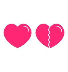 Flat design icons of normal and broken hearts vector image